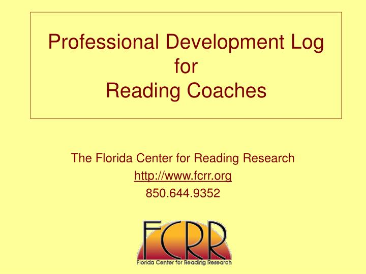 Professional development log for reading coaches
