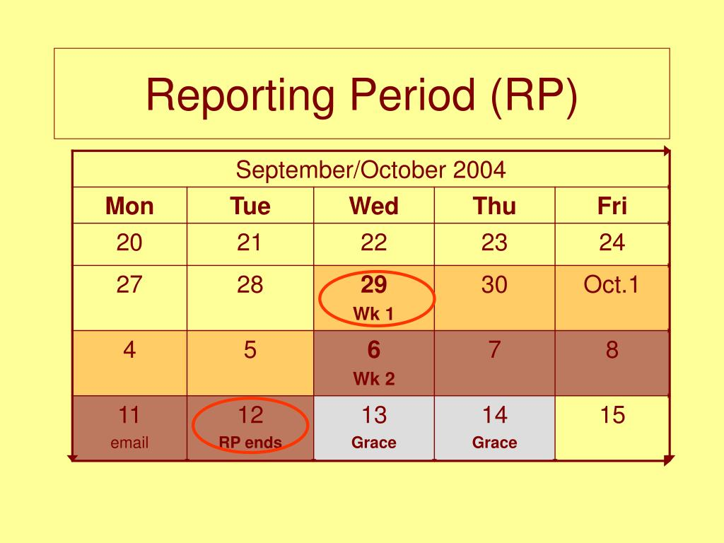 Reporting Period (RP)