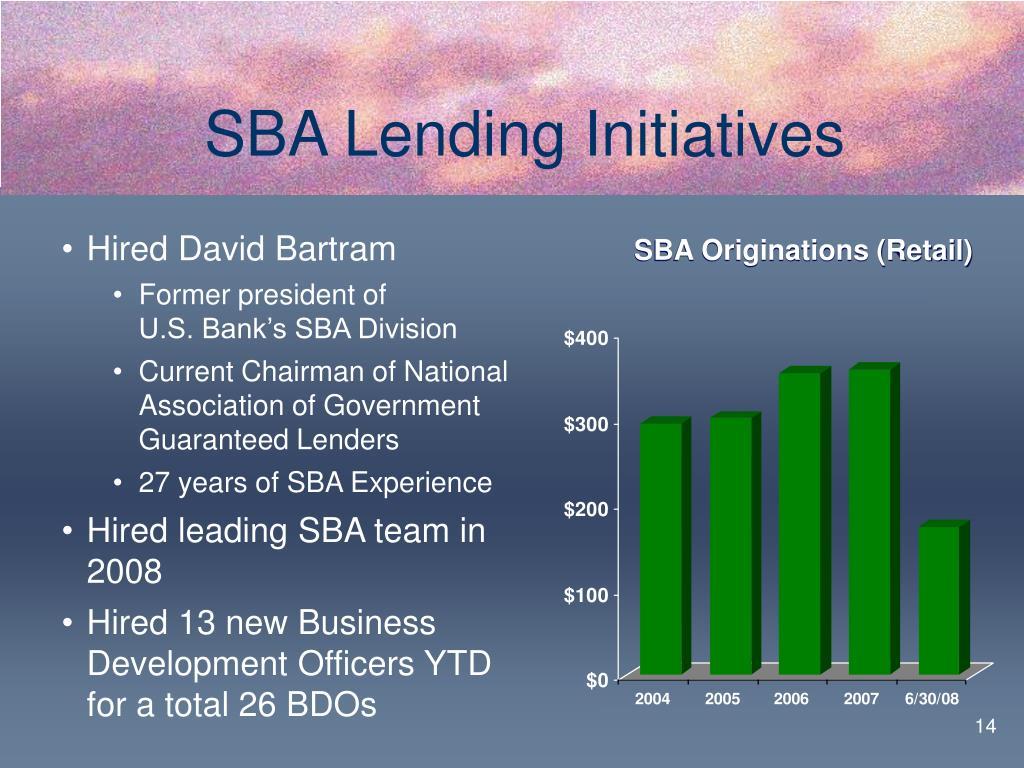 SBA Lending Initiatives