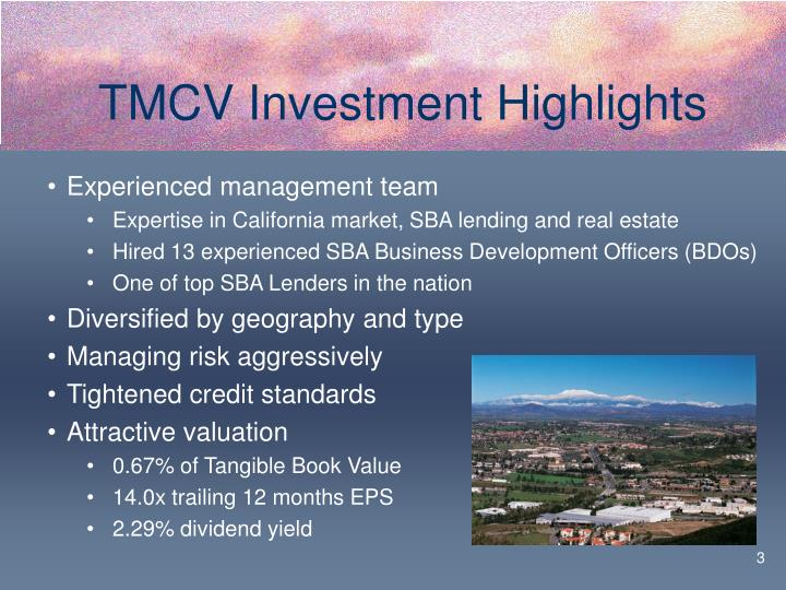 Tmcv investment highlights