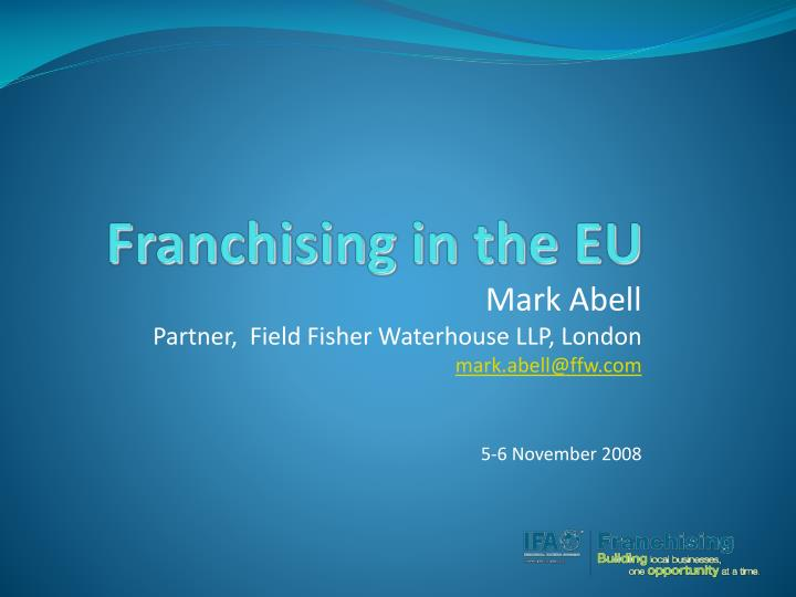 Franchising in the eu l.jpg