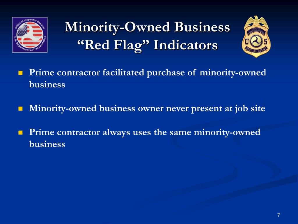 "Minority-Owned Business ""Red Flag"" Indicators"