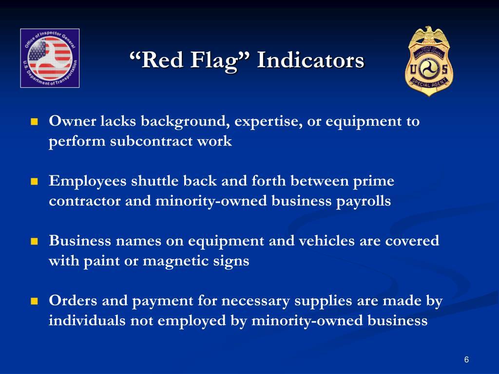 """Red Flag"" Indicators"