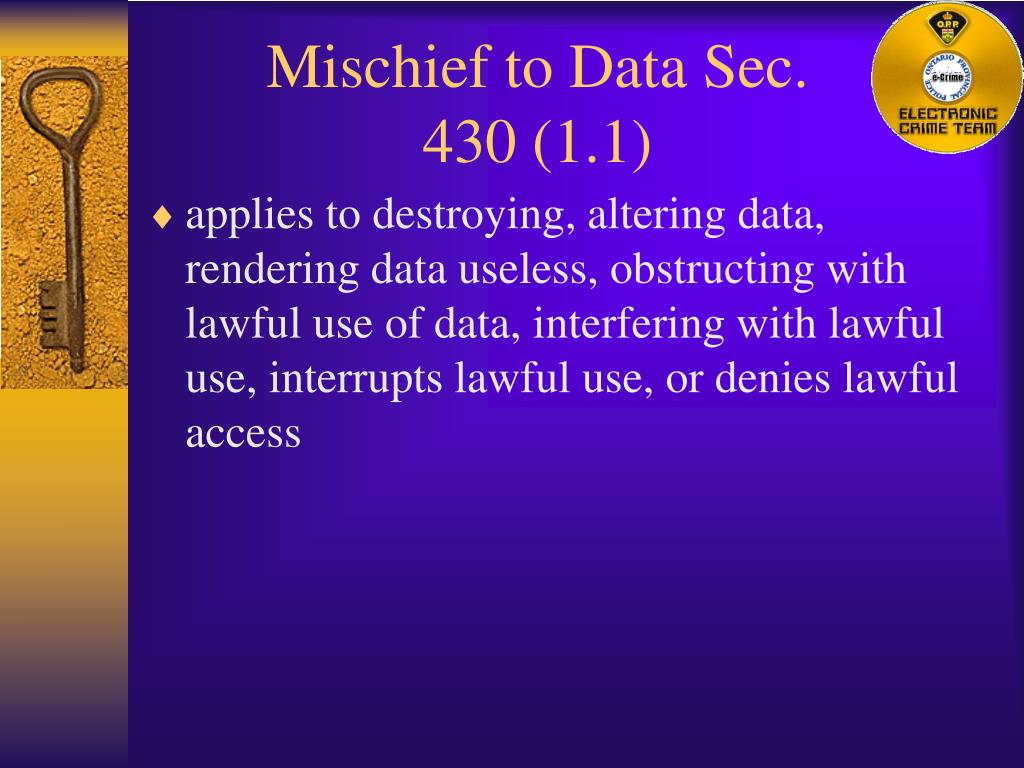 Mischief to Data Sec. 430 (1.1)