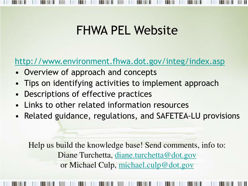 FHWA PEL Website