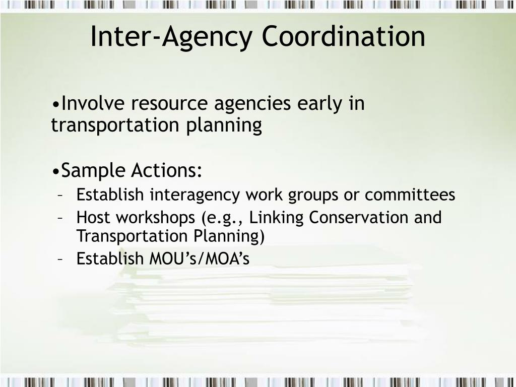 Inter-Agency Coordination