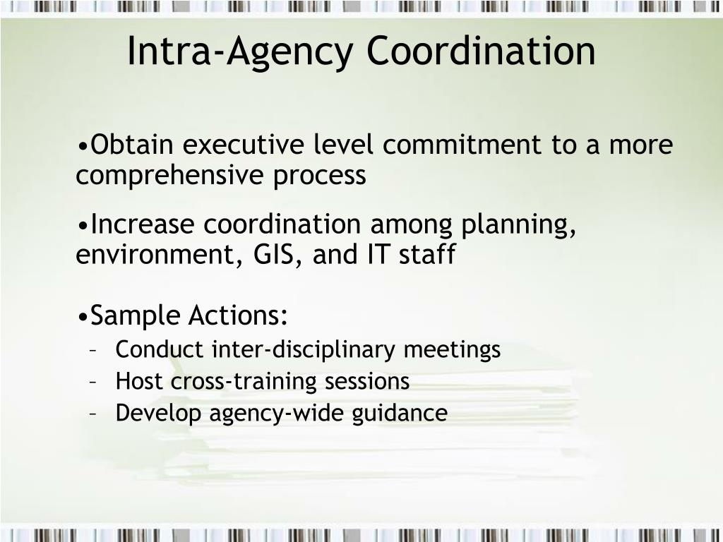 Intra-Agency Coordination