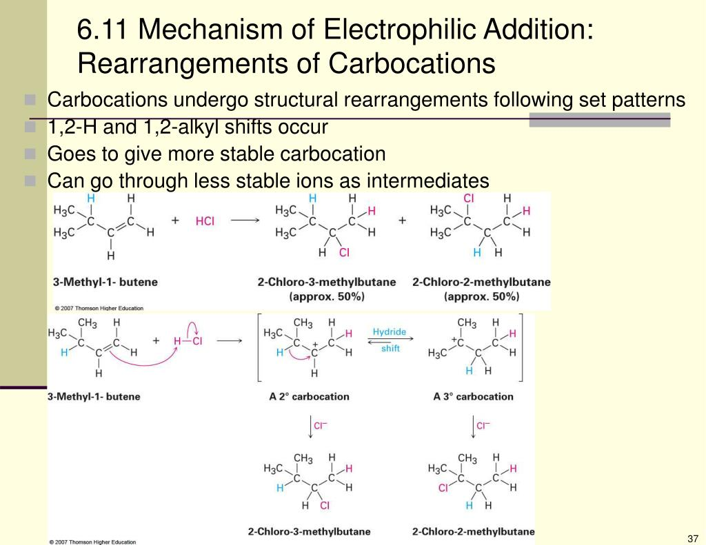 6.11 Mechanism of Electrophilic Addition: Rearrangements of Carbocations