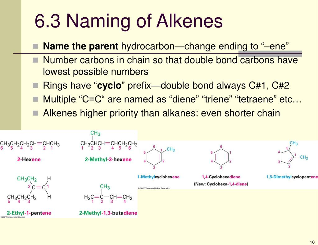 6.3 Naming of Alkenes