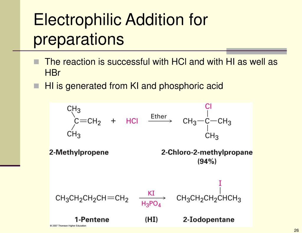 Electrophilic Addition for preparations