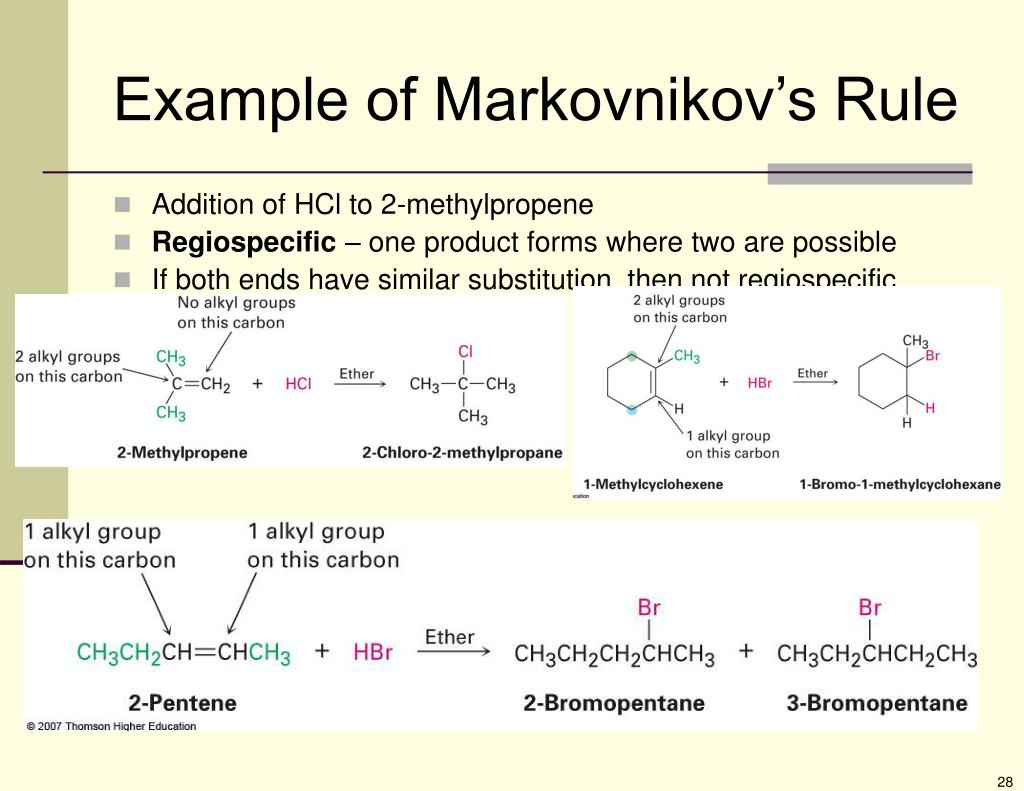 Example of Markovnikov's Rule