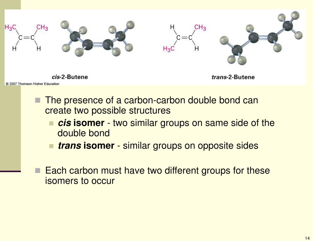 The presence of a carbon-carbon double bond can create two possible structures
