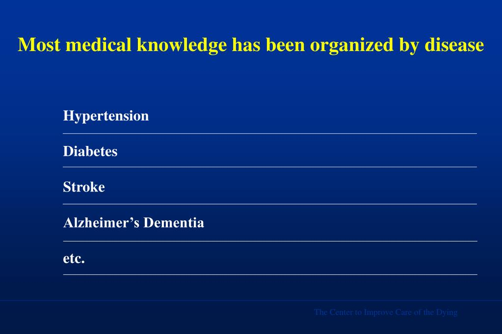 Most medical knowledge has been organized by disease