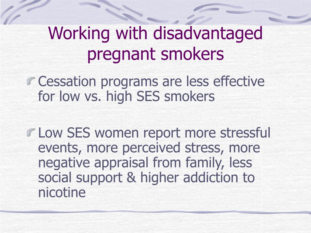 Working with disadvantaged pregnant smokers