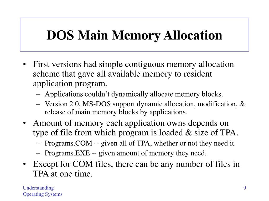 DOS Main Memory Allocation