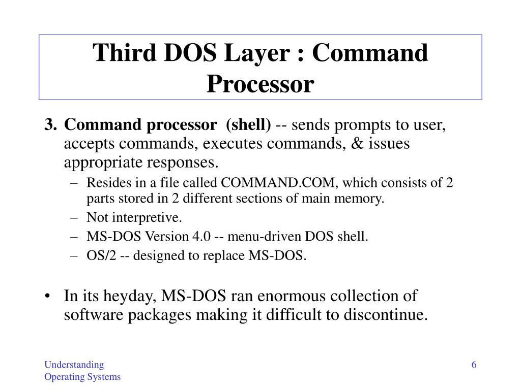 Third DOS Layer : Command Processor