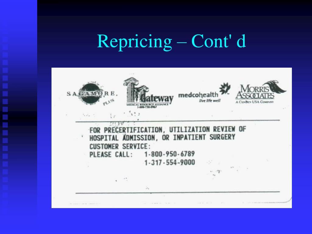 Repricing – Cont' d