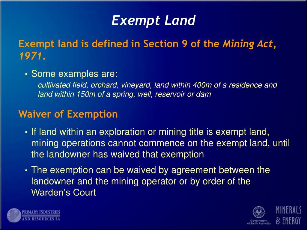 Exempt Land