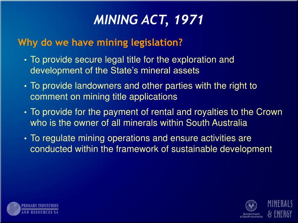 MINING ACT, 1971