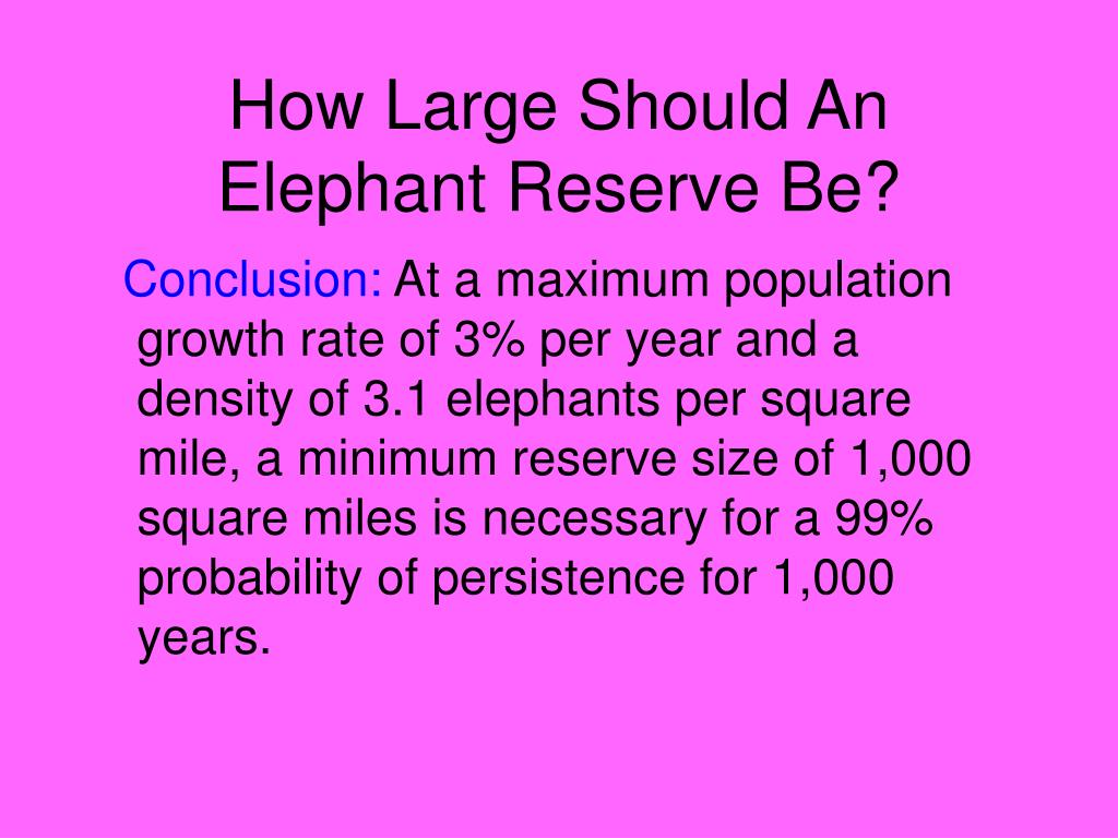 How Large Should An Elephant Reserve Be?