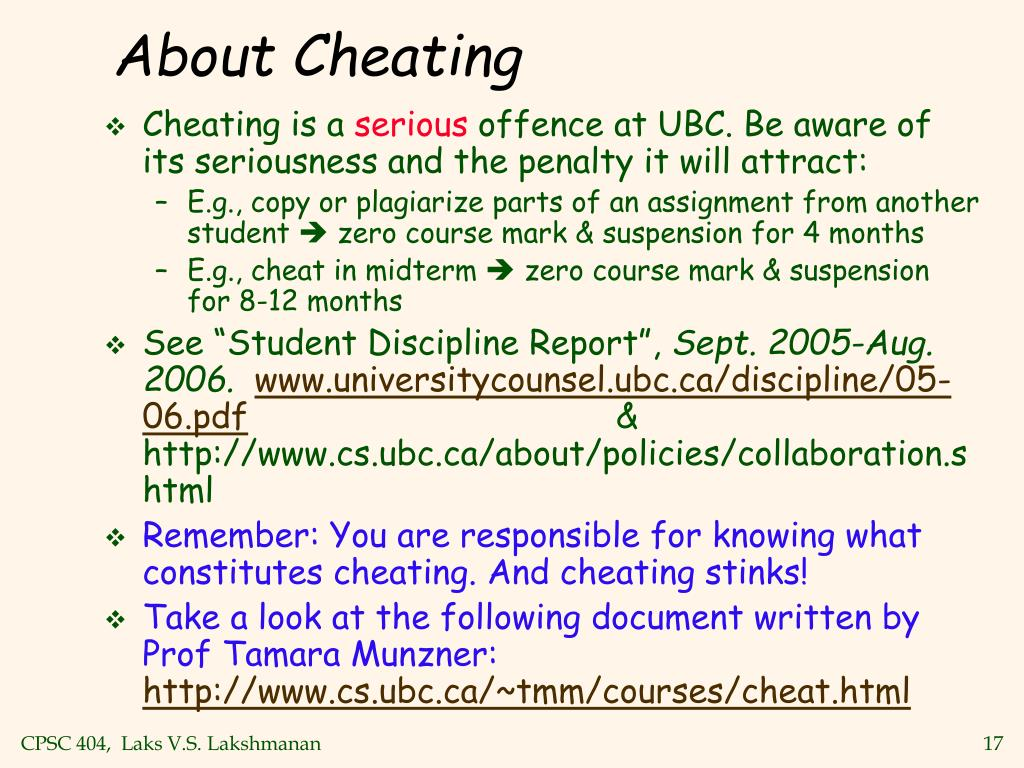 About Cheating