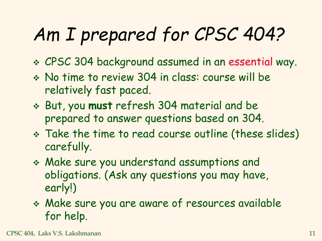 Am I prepared for CPSC 404?