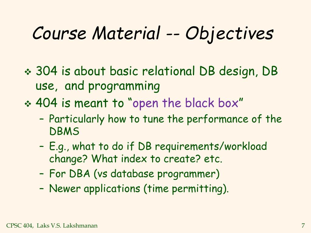 Course Material -- Objectives