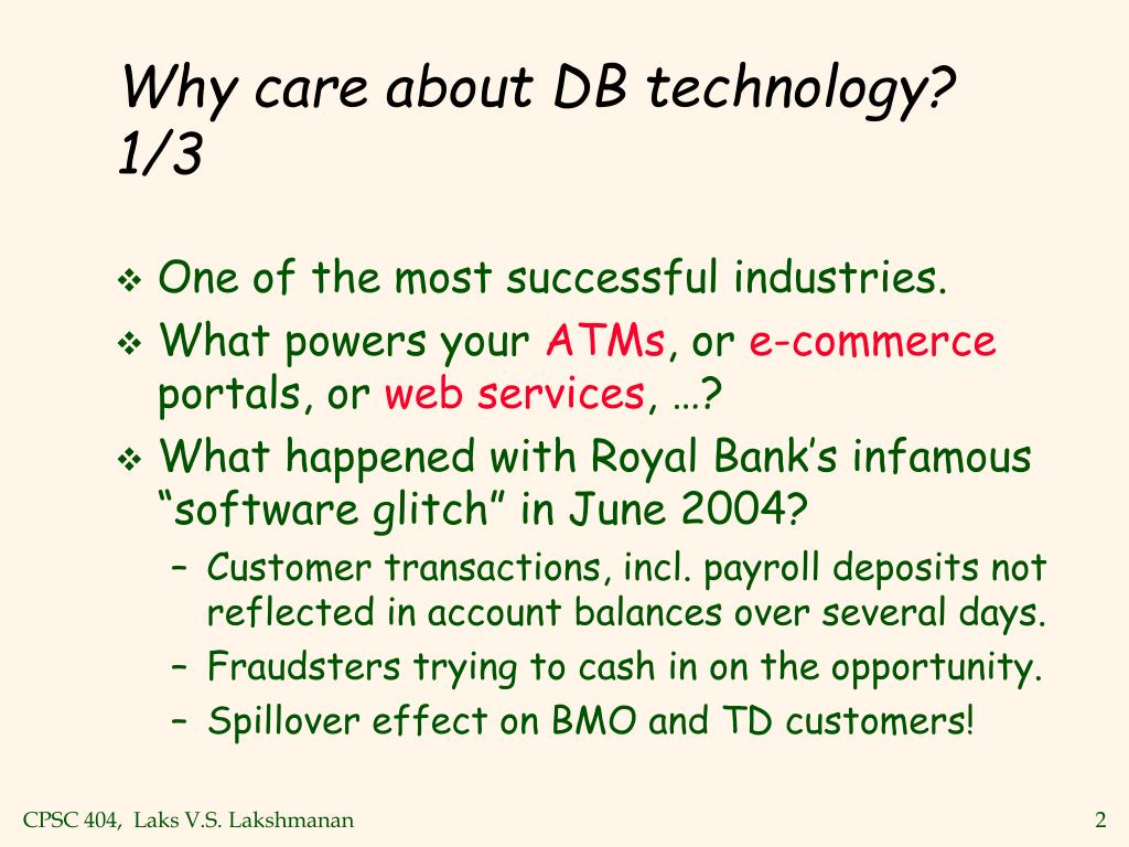 Why care about DB technology? 1/3