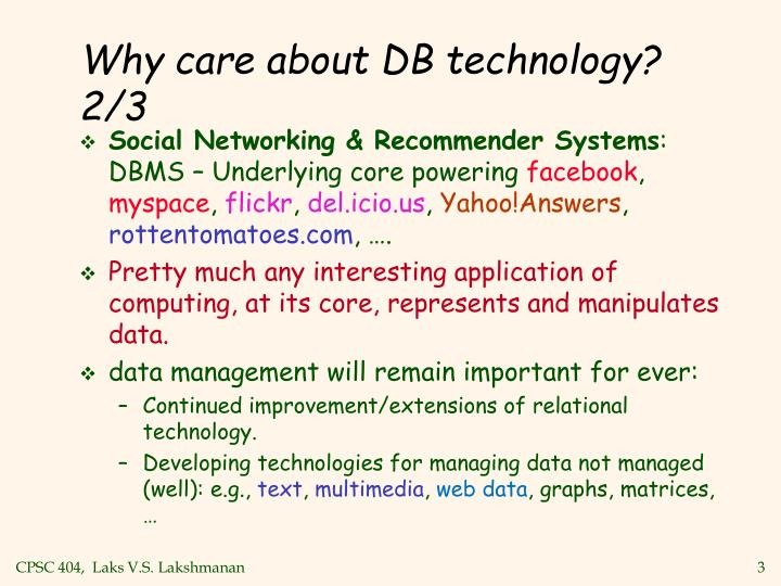 Why care about db technology 2 3 l.jpg