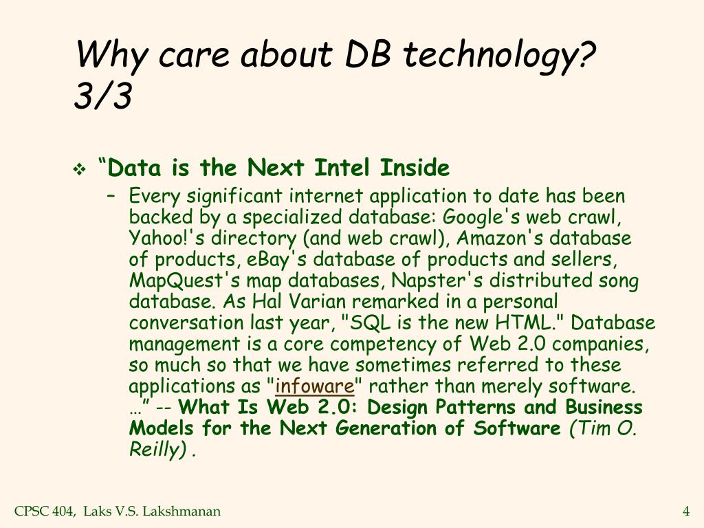Why care about DB technology? 3/3