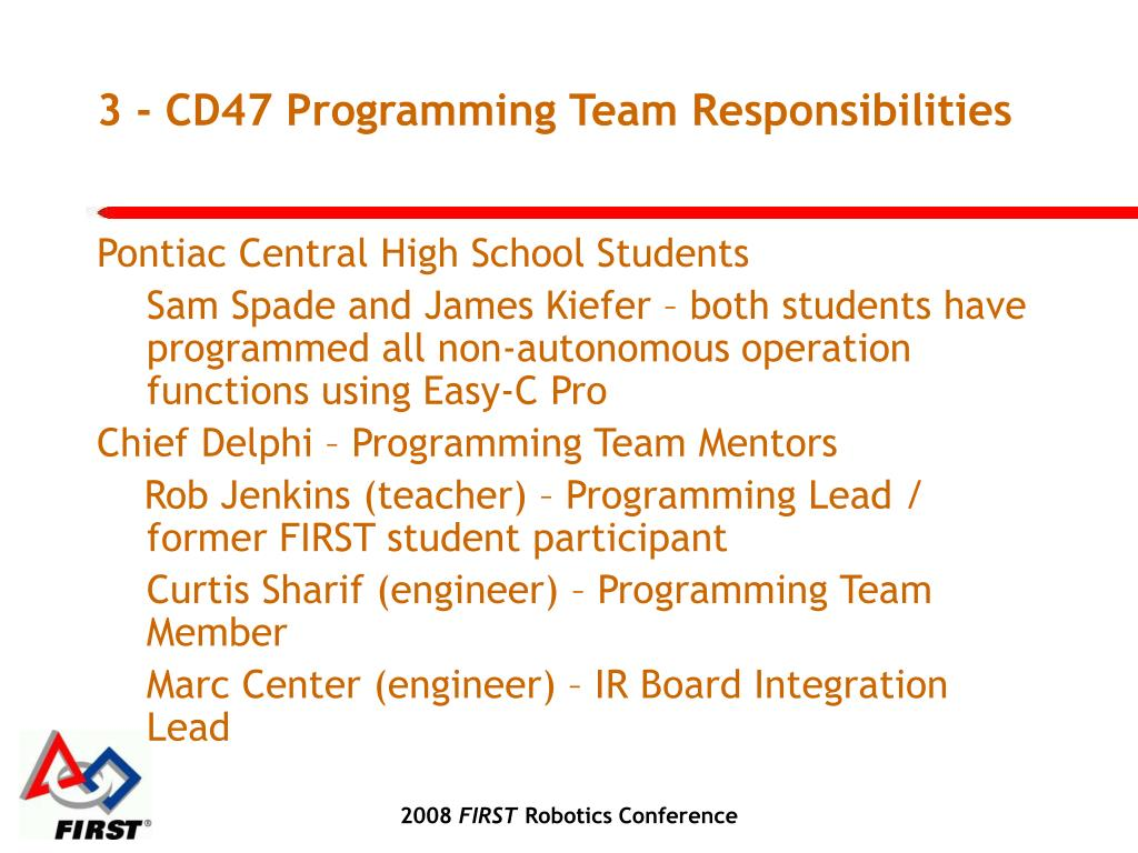 3 - CD47 Programming Team Responsibilities