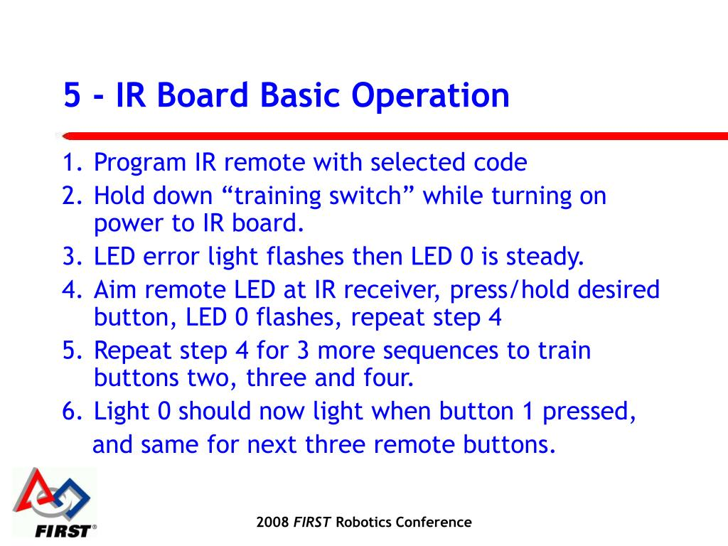 5 - IR Board Basic Operation