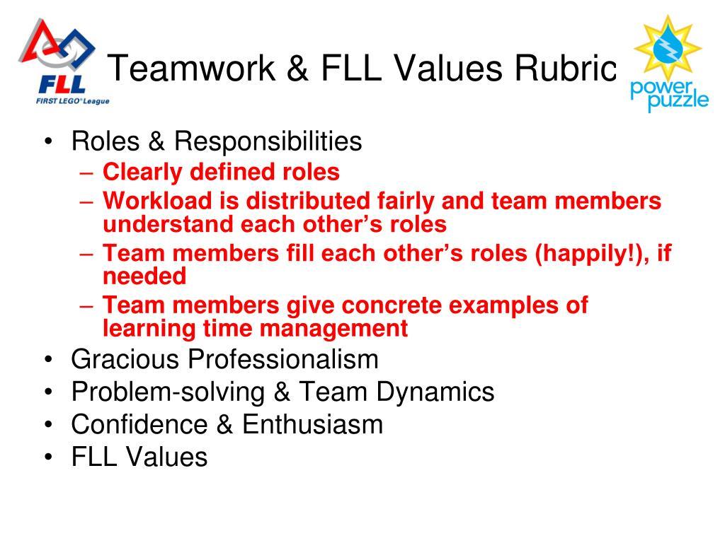 Teamwork & FLL Values Rubric