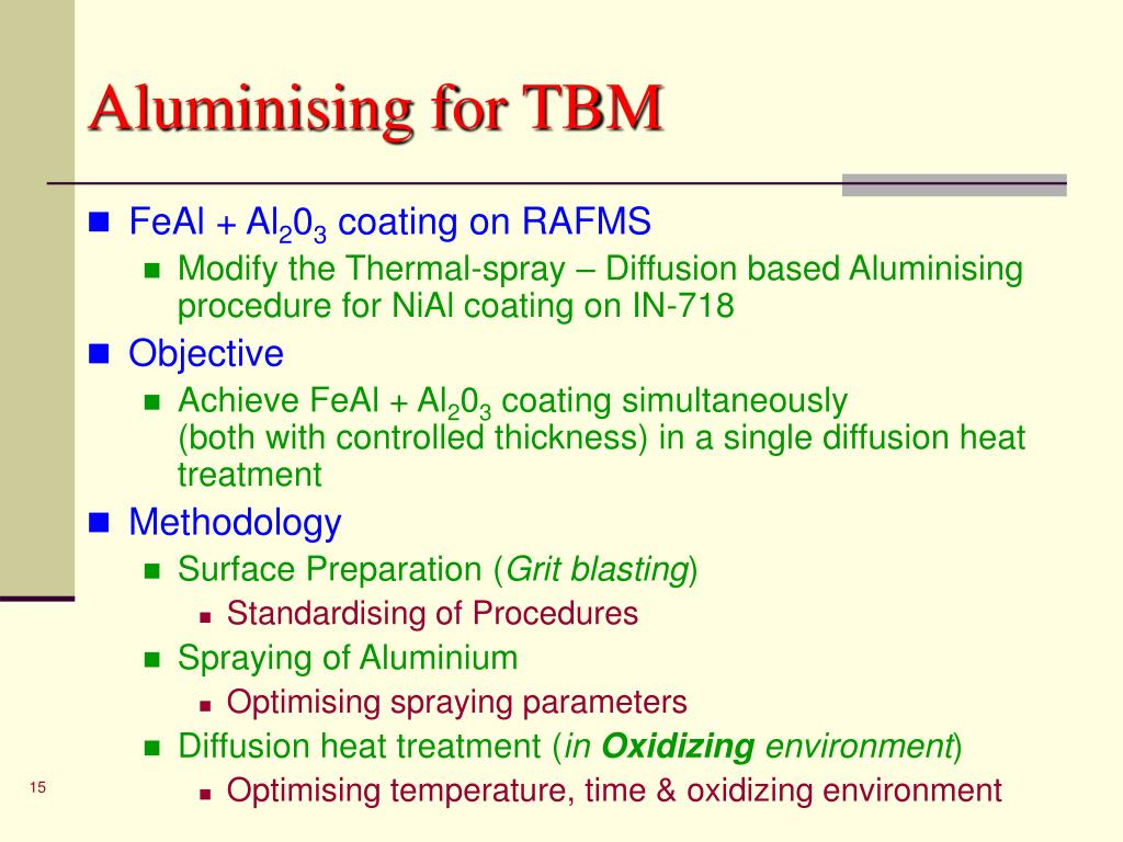 Aluminising for TBM