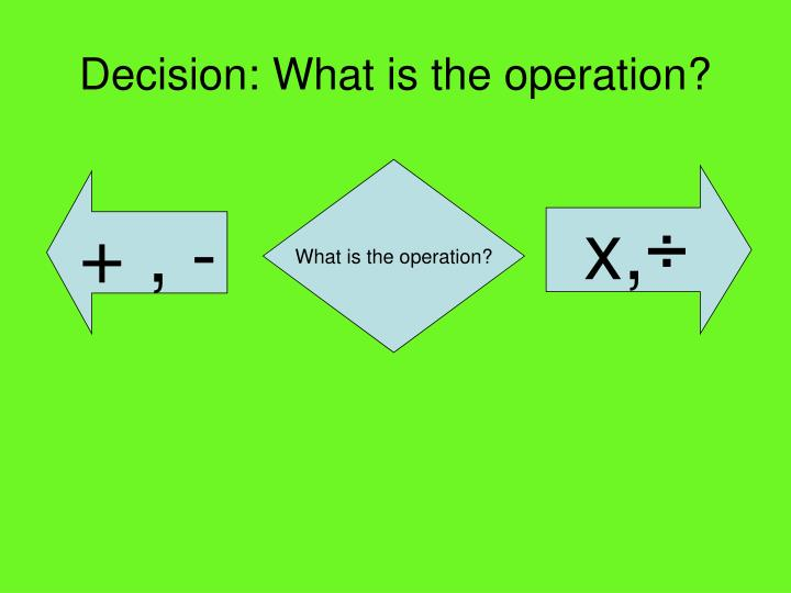 Decision what is the operation