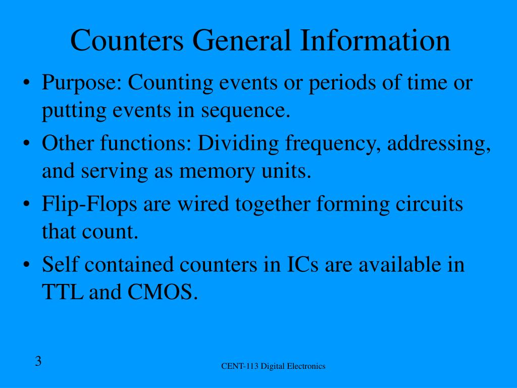 Counters General Information