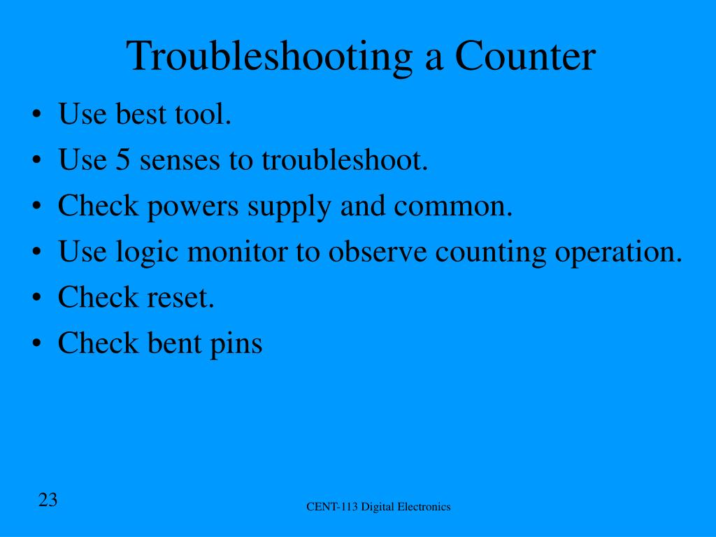 Troubleshooting a Counter