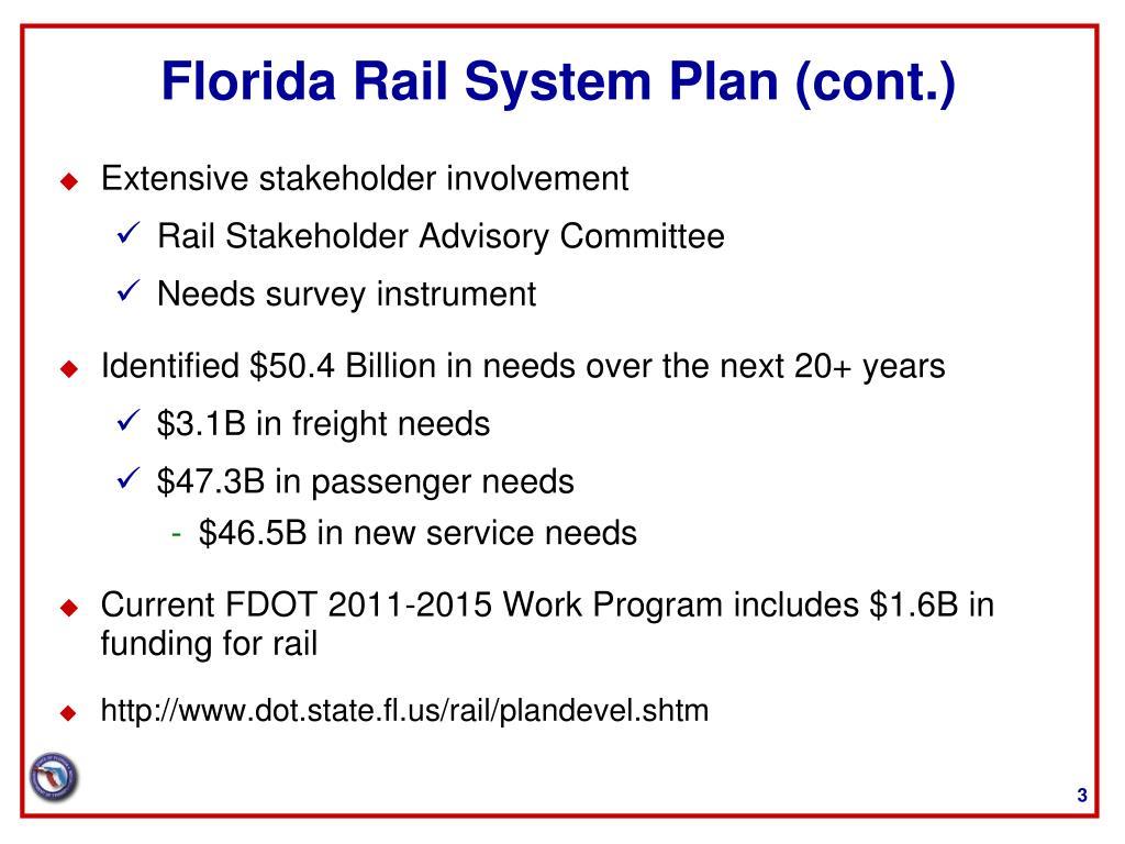 Florida Rail System Plan (cont.)