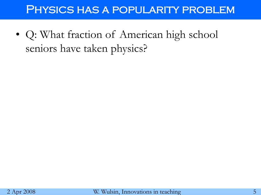 Physics has a popularity problem