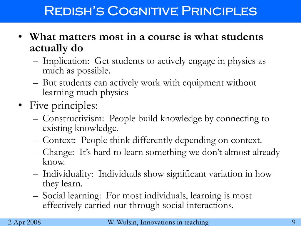Redish's Cognitive Principles