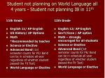 student not planning on world language all 4 years student not planning ib in 11 th9