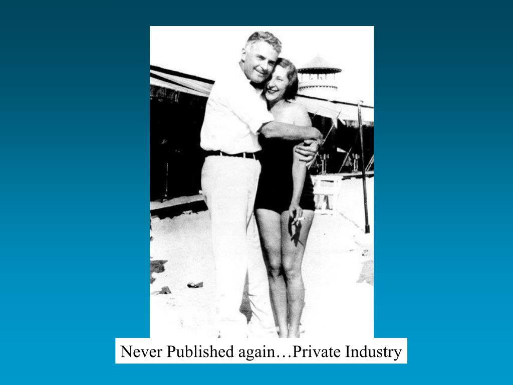 Never Published again…Private Industry