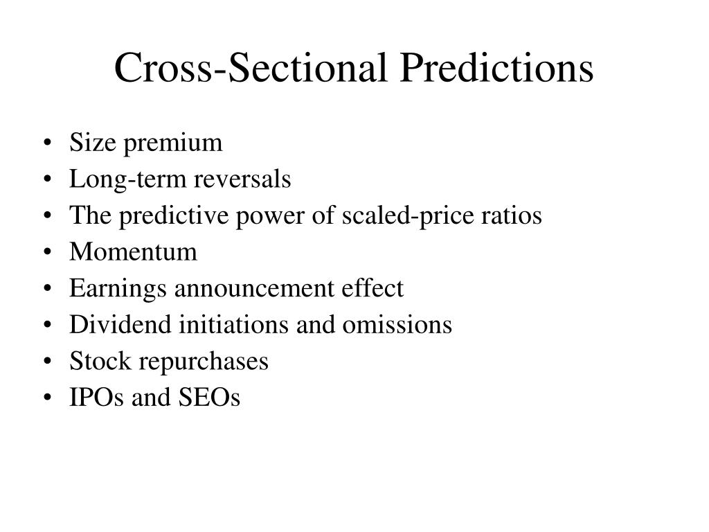 Cross-Sectional Predictions