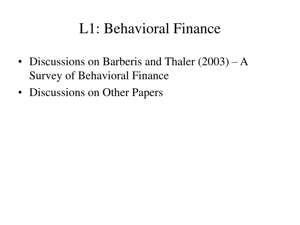 L1: Behavioral Finance