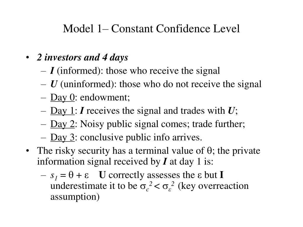 Model 1– Constant Confidence Level