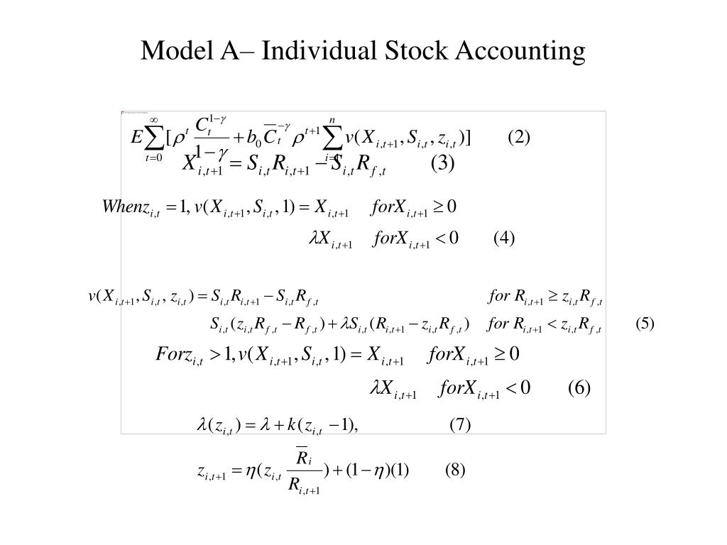 Model A– Individual Stock Accounting