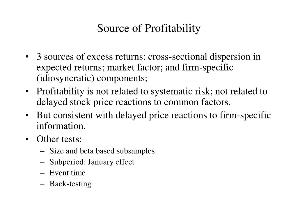 Source of Profitability