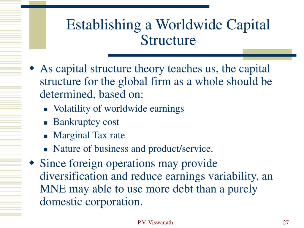 Establishing a Worldwide Capital Structure