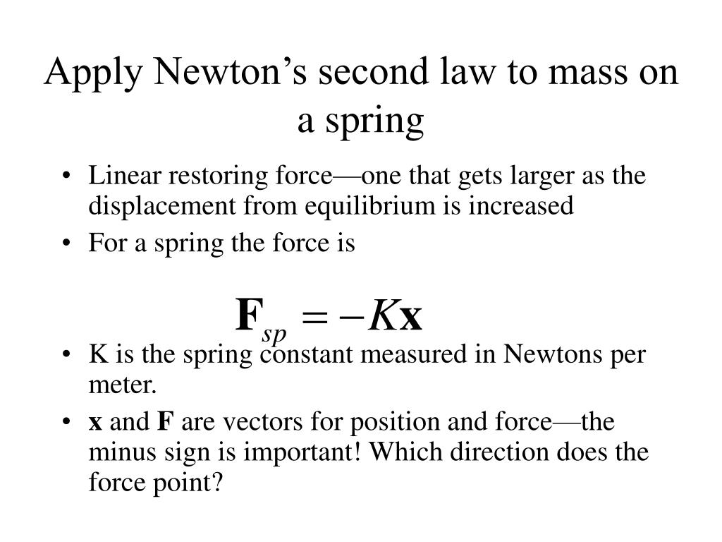 Apply Newton's second law to mass on a spring