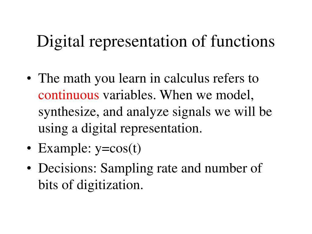 Digital representation of functions